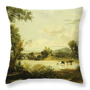 The Quiet Valley Throw Pillow by Jasper Francis Cropsey