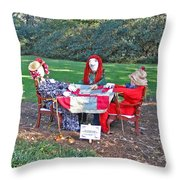 The Quilting Bee Scarecrows Throw Pillow