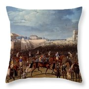 The Race Over, Print Made By Charles Throw Pillow