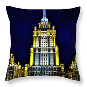The Raddison-stalin's Wedding Cake Architecture-in Moscow-russia Throw Pillow