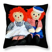 The Raggedy Twins Throw Pillow by Donna Proctor