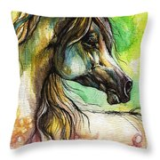The Rainbow Colored Arabian Horse Throw Pillow
