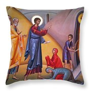 the raising of Lazarus from the dead Throw Pillow