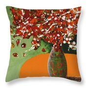 The Red And Green Vase Throw Pillow