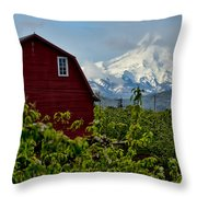 The Red Barn And Mt. Hood Throw Pillow