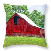 The Red Barn - Featured In Old Buildings And Ruins Group Throw Pillow