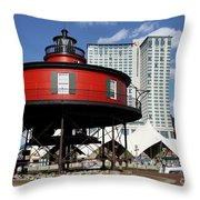The Red Beacon From Baltimore Harbor Throw Pillow