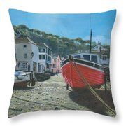 The Red Boat Polperro Corwall Throw Pillow