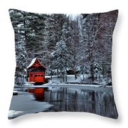 The Red Boathouse - Old Forge Ny Throw Pillow