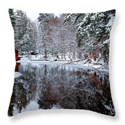 Red Boathouse On Beaver Brook Throw Pillow