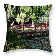 The Red Bridge Throw Pillow
