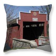 The Red Bridge Or Wertz's Cover Bridge Throw Pillow