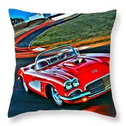 The Red Corvette Throw Pillow
