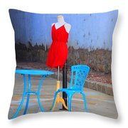 The Red Dress Lunch Special Throw Pillow