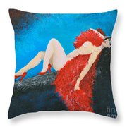 The Red Feather Boa Throw Pillow