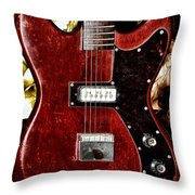 The Red Guitar Blues Throw Pillow by Bill Cannon