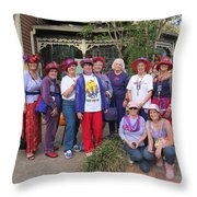 The Red Hat Ladies At The Catfish Plantation Throw Pillow
