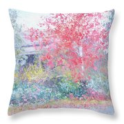 The Red Japanese Maple Tree Throw Pillow