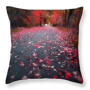 The Red Leaf Throw Pillow