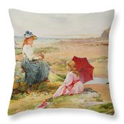 The Red Parasol Throw Pillow by Alfred Glendening Jr