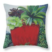 The Red Pot Throw Pillow