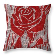 The Red Rose Throw Pillow by Marita McVeigh