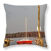 The Red Sailboat Throw Pillow
