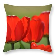 The Red Tulips Throw Pillow
