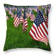 The Red White And Blue  American Flags Throw Pillow