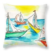 The Regatta Throw Pillow by Brenda Ruark