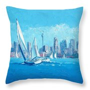 The Regatta Sydney Habour By Jan Matson Throw Pillow
