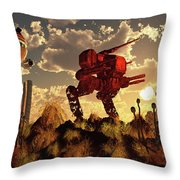 The Remnants Of A Past Futuristic War Throw Pillow