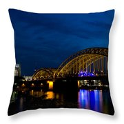 The Rhine Rail Bridge And Cathedral Of Cologne Throw Pillow