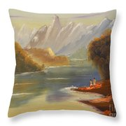 The River Flowing From A High Mountain Throw Pillow
