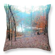 The River In The Forest Throw Pillow