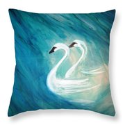 The River Of Swans Throw Pillow