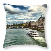The River Seine Paris France Digital Water Color Throw Pillow