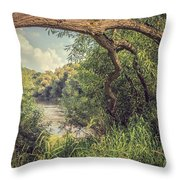 The River Severn At Buildwas Throw Pillow
