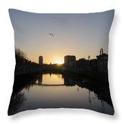 The River Swiffey At Sunrise - Dublin Ireland Throw Pillow