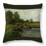 The River Thames Throw Pillow