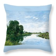 The River Touques At Saint-arnoult Throw Pillow