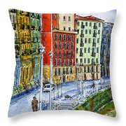 The Riverside Houses At Bilbao La Vieja Throw Pillow