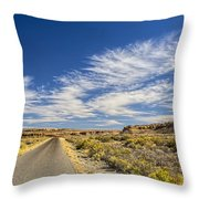 The Road Goes On Forever Throw Pillow