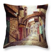 The Road To The Cross  Jerusalem Throw Pillow