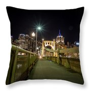 The Roberto Clemente Bridge Throw Pillow