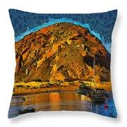 The Rock At Morro Bay Abstract Throw Pillow