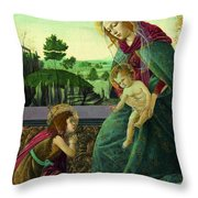 The Rockefeller Madonna. Madonna And Child With Young Saint John The Baptist Throw Pillow