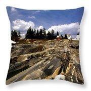 The Rocks At Pemaquid Throw Pillow