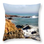 The Rocky Coastline Meets The Ocean Throw Pillow