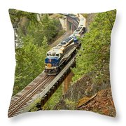 The Rocky Mountaineer Above The Cheakamus River Throw Pillow